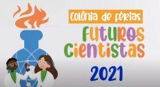 Marca da colônia de férias Futuros Cientistas da FFP-Uerj.